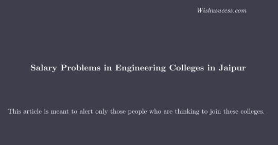 Colleges Salaries Problems in Jaipur