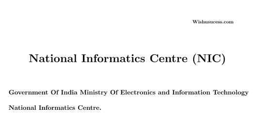 National Informatics Centre (NIC) Latest News 2020