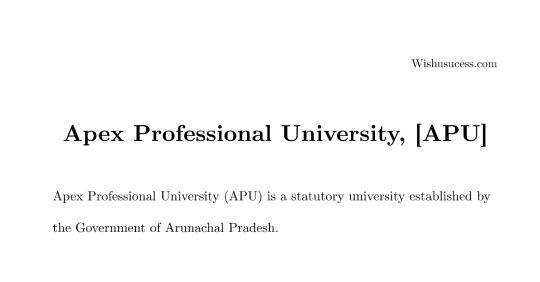 Apex Professional University, [APU] Pasighat