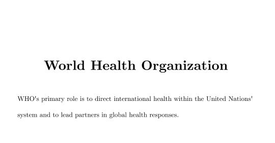 World Health Organization History