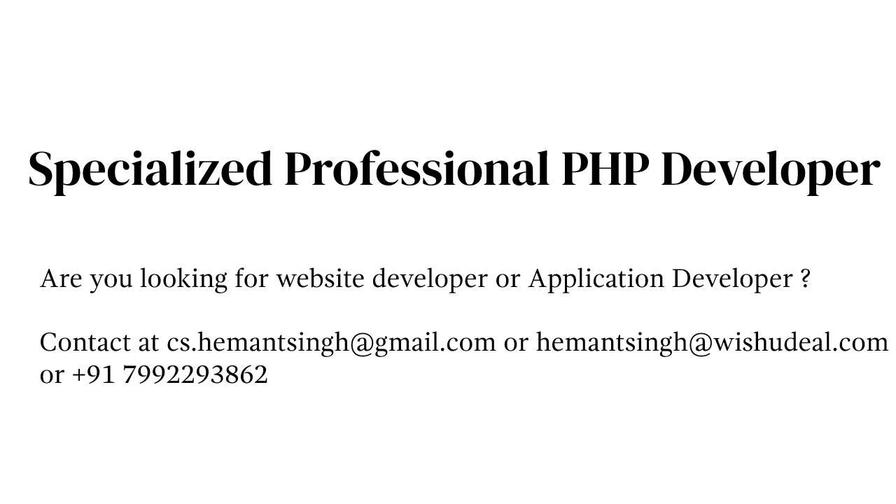 Hemant Singh PHP Developer
