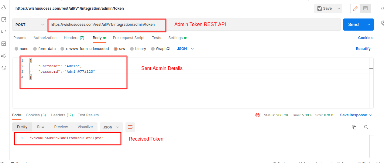 Create Admin Token Using REST API