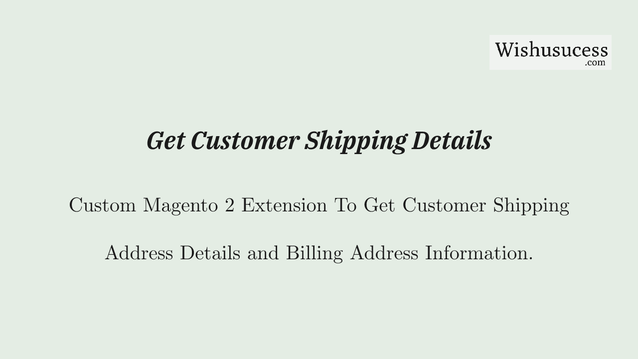 Magento 2 Shipping Address API